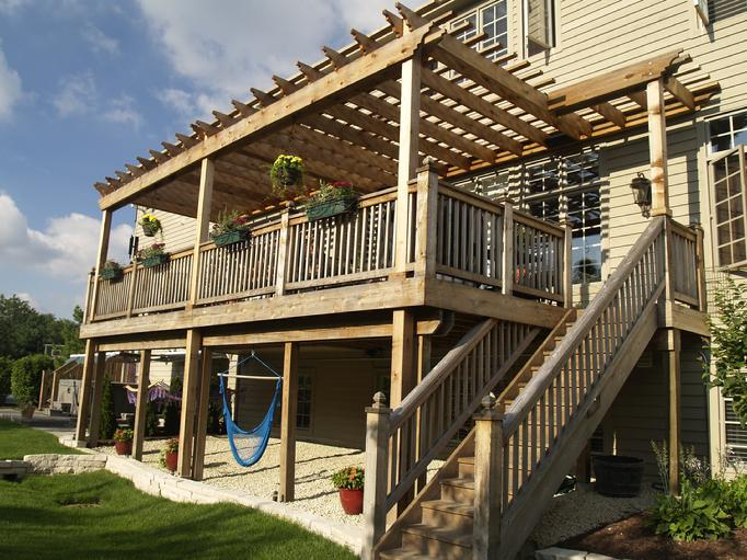 Pergola arbor two story western red cedar pergolas for Second story deck plans pictures